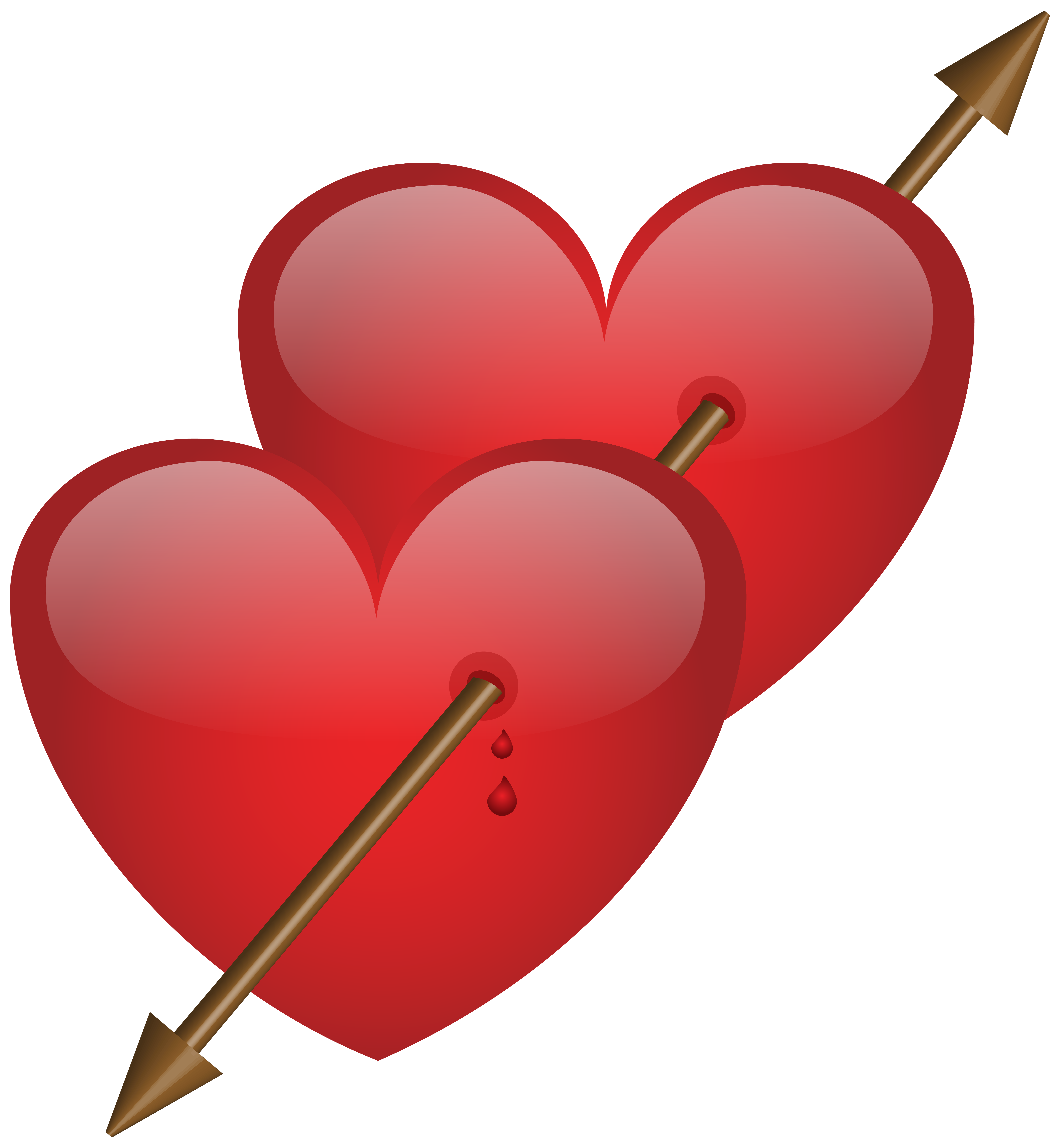 Two Hearts with Arrow PNG Clip Art Image.