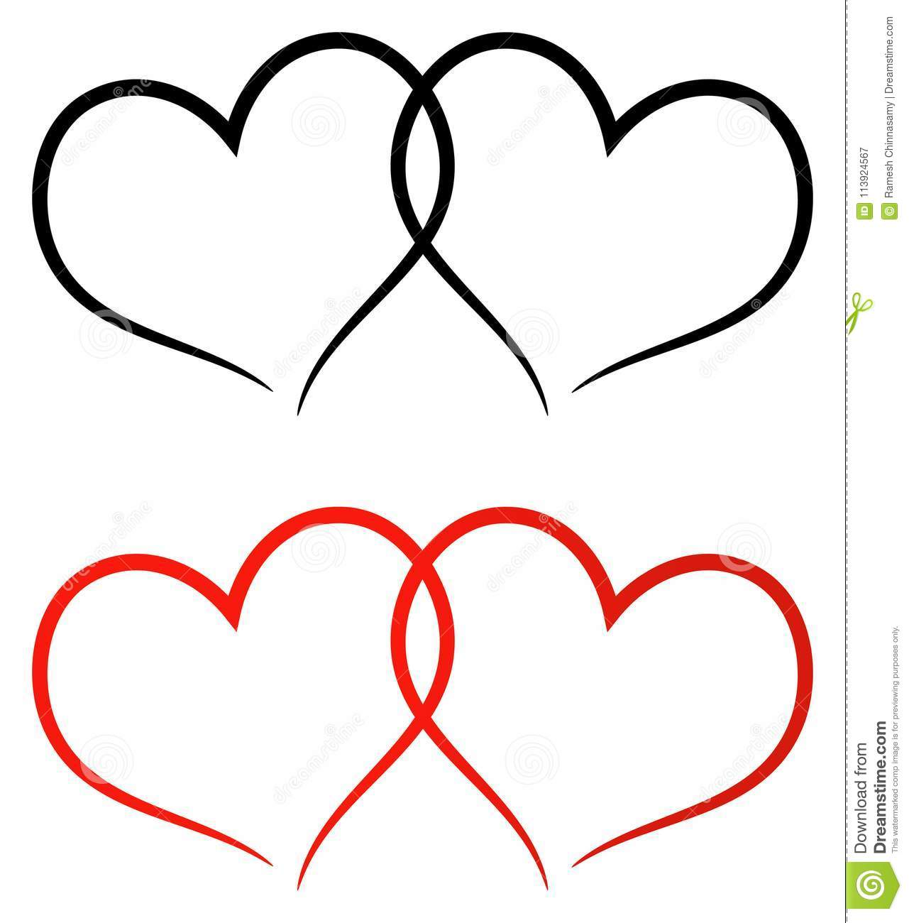 Red And Black Two Hearts Clip Art Stock Vector.
