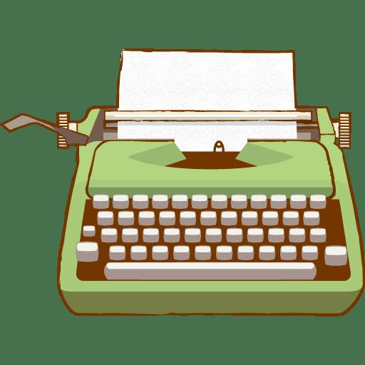 Vintage Typewriter Green Clipart transparent PNG.