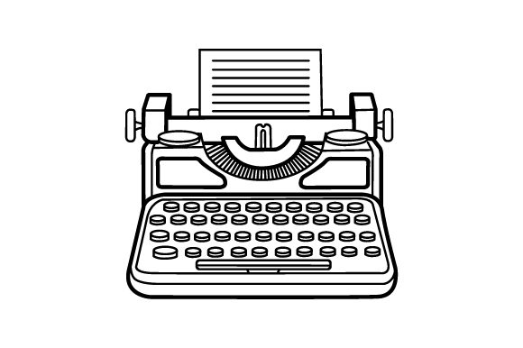 Vintage Typewriter Clipart Images in Line Drawings.