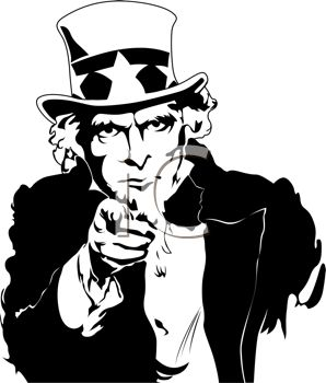 Retro Black and White Uncle Sam Pointing.