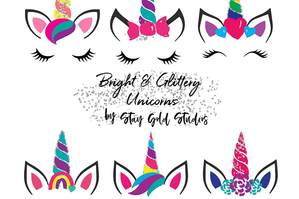 Bright & Glittery Unicorn Faces Clipart.