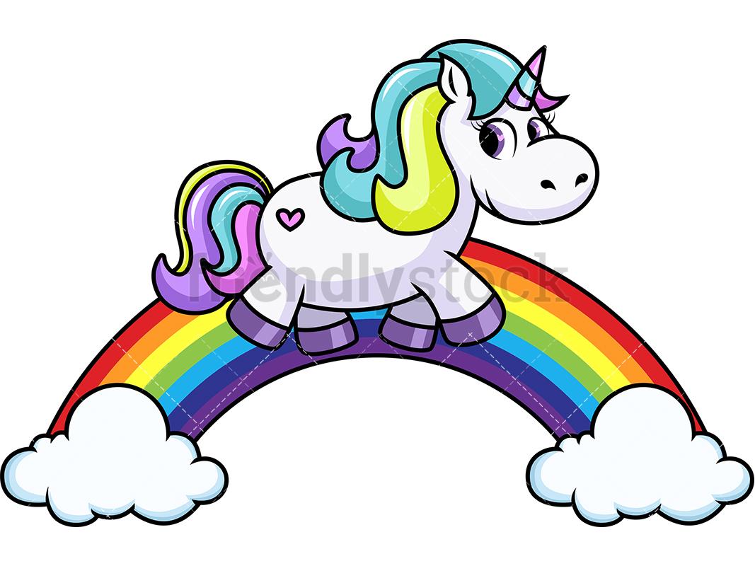 Unicorn Walking On Rainbow.