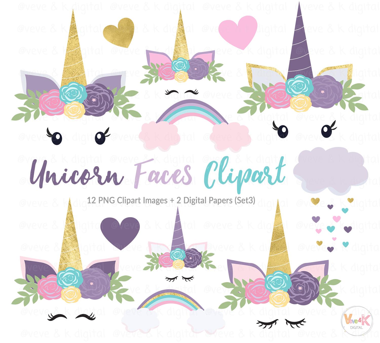 Purple Unicorn Faces Clipart, Unicorns Clipart, Purple Unicorns, Gold  Glitter Unicorn Clipart, Purple Clipart, Unicorn Graphics, Unicorns.