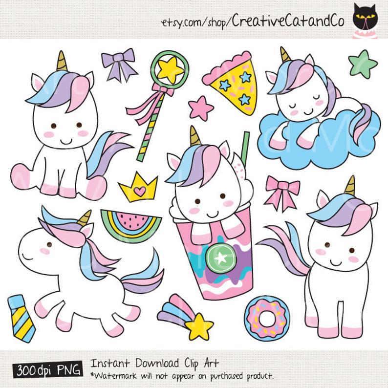 Cute Unicorn Clipart Cute Unicorn Clip Art Unicorn Digital Sticker Cute  Animal Clipart Unicorn Frappucino Clipart Unicorn Rainbow Clipart.