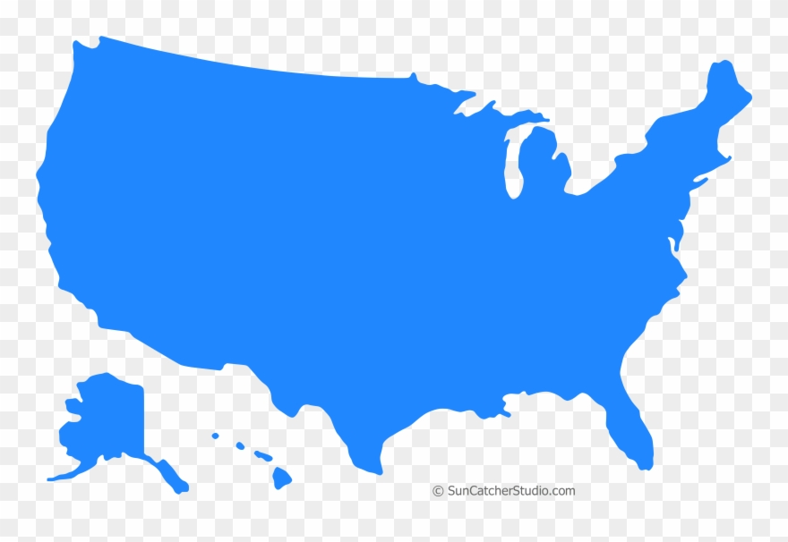 United States Map Blue Silhouette.