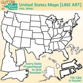 United States Map Clip Art: Geography Graphics B&W {Glitter Meets Glue}.
