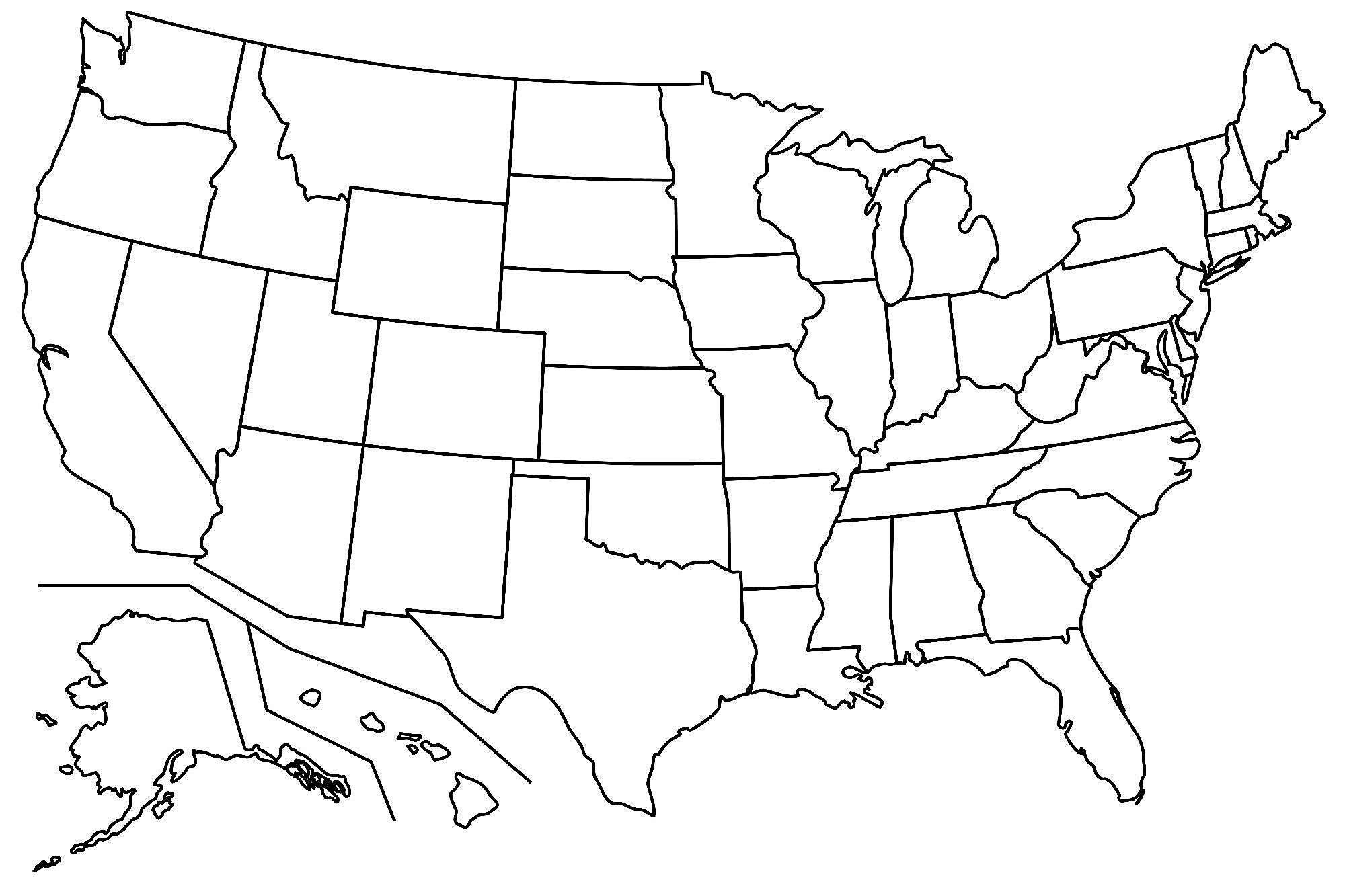 US Map : United States Map Outline Vector State Names Library.