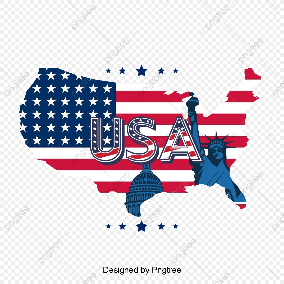 American Flag Map, Flag Clipart, Map Clipart, United States PNG.