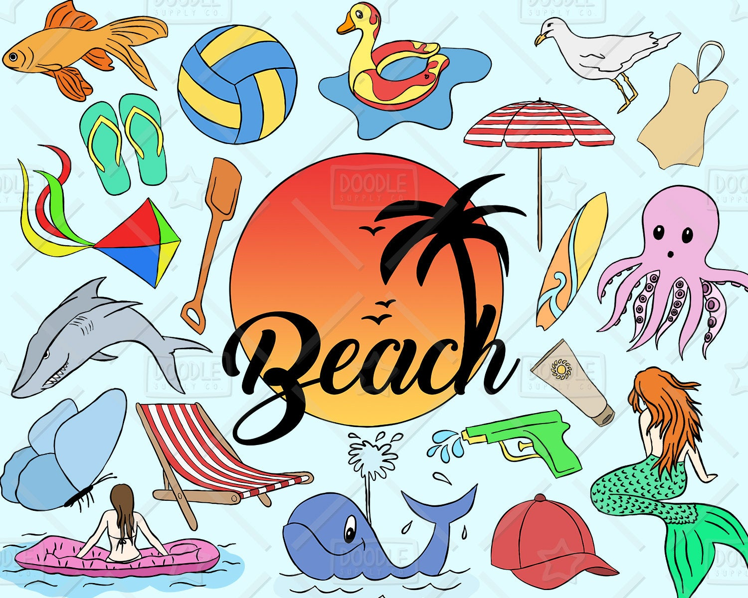 Beach Clipart Vector Pack, Summer Clipart, Vacation Clipart, Holiday  Clipart, Beach Party, Beach Sticker, SVG, PNG file.