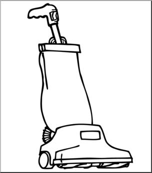 Clip Art: Vacuum Cleaner B&W I abcteach.com.