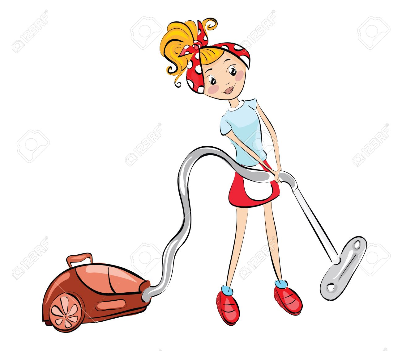 Woman with vacuum cleaner . Clip.