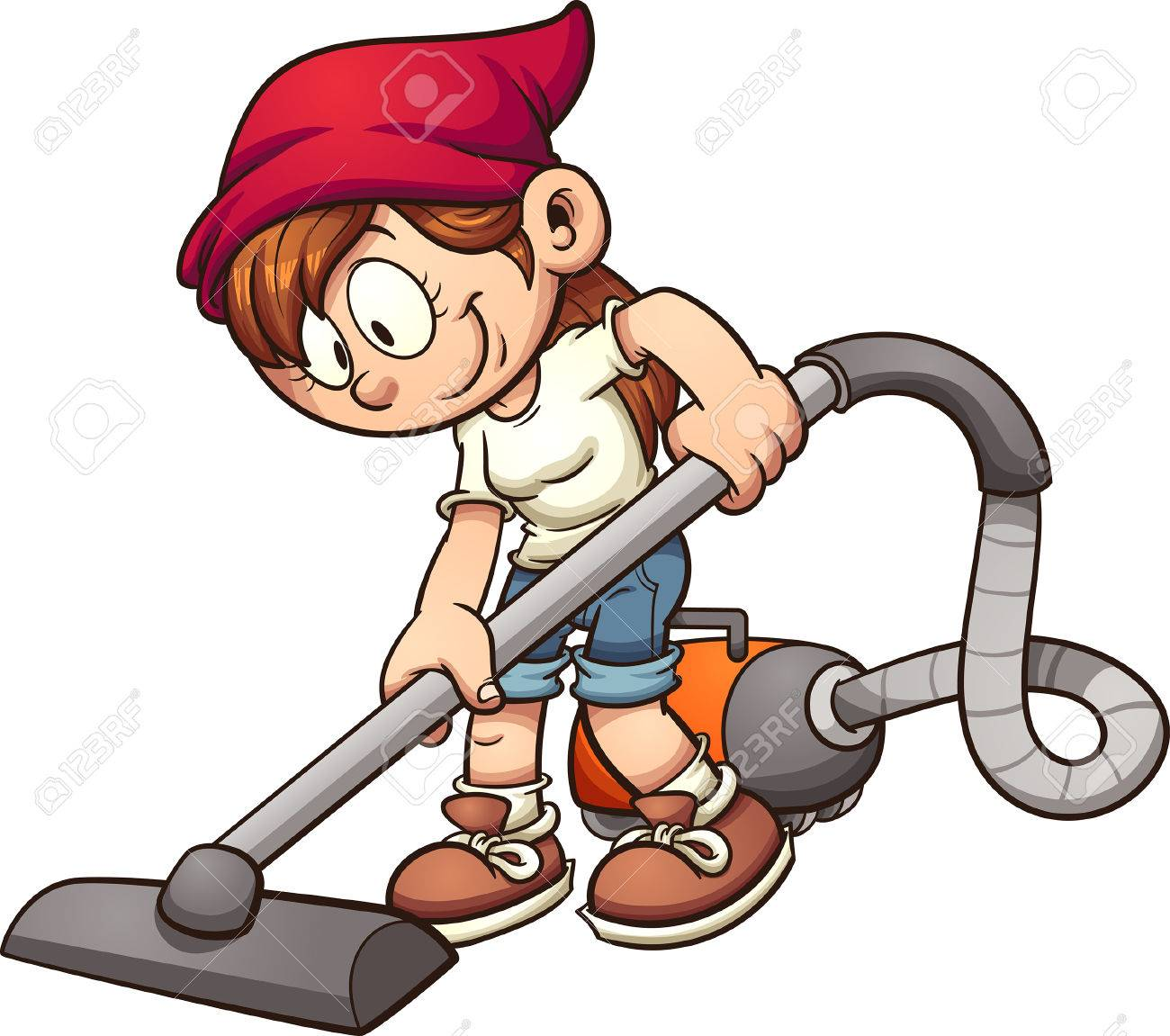 Girl using a vacuum cleaner. Vector clip art illustration with...