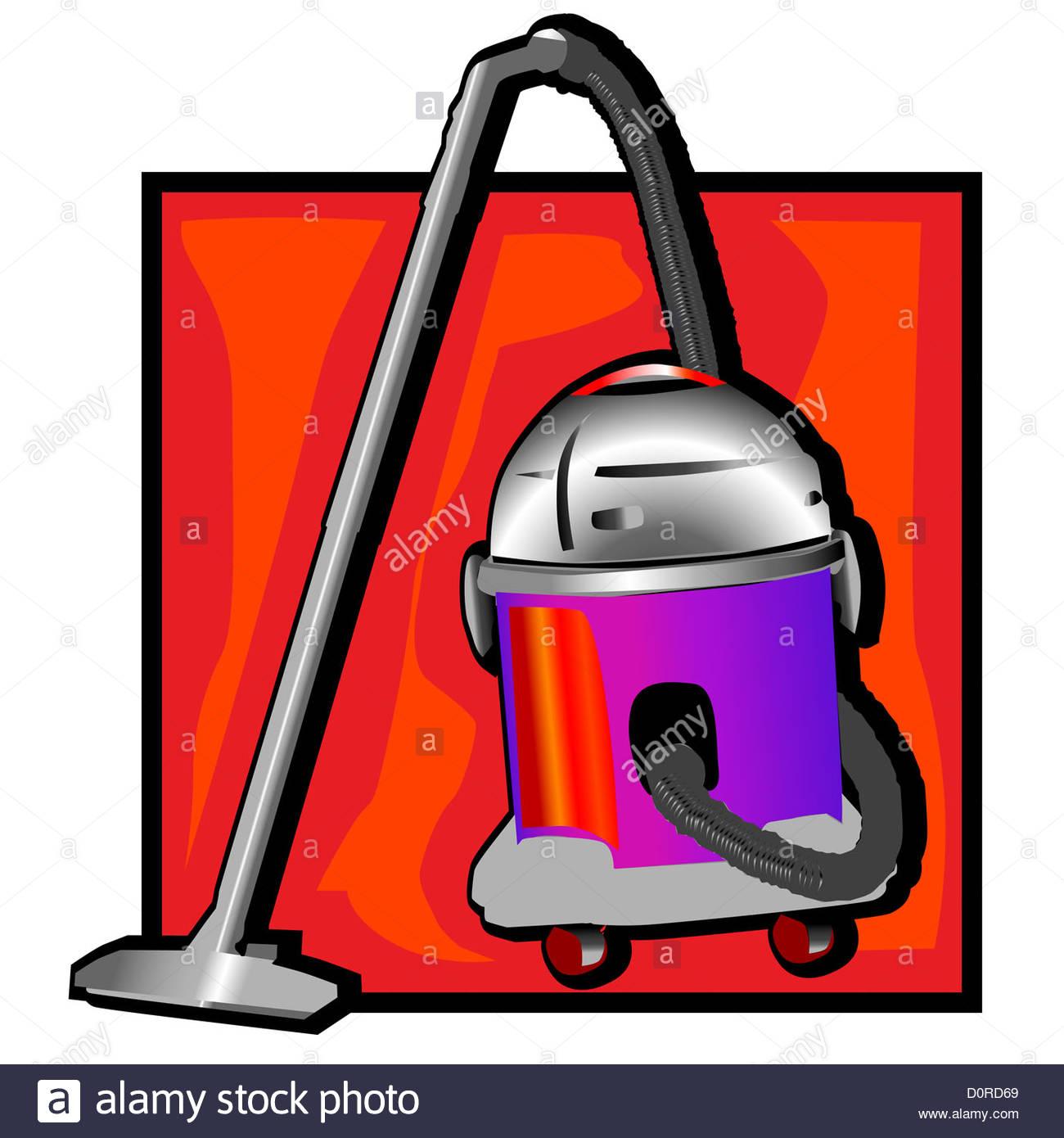 retro vacuum cleaner clip art Stock Photo: 52146369.