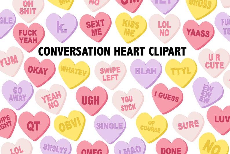 CONVERSATION HEARTS CLIPART.