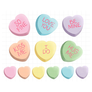 Candy Hearts Clip Art for Valentine's Day.