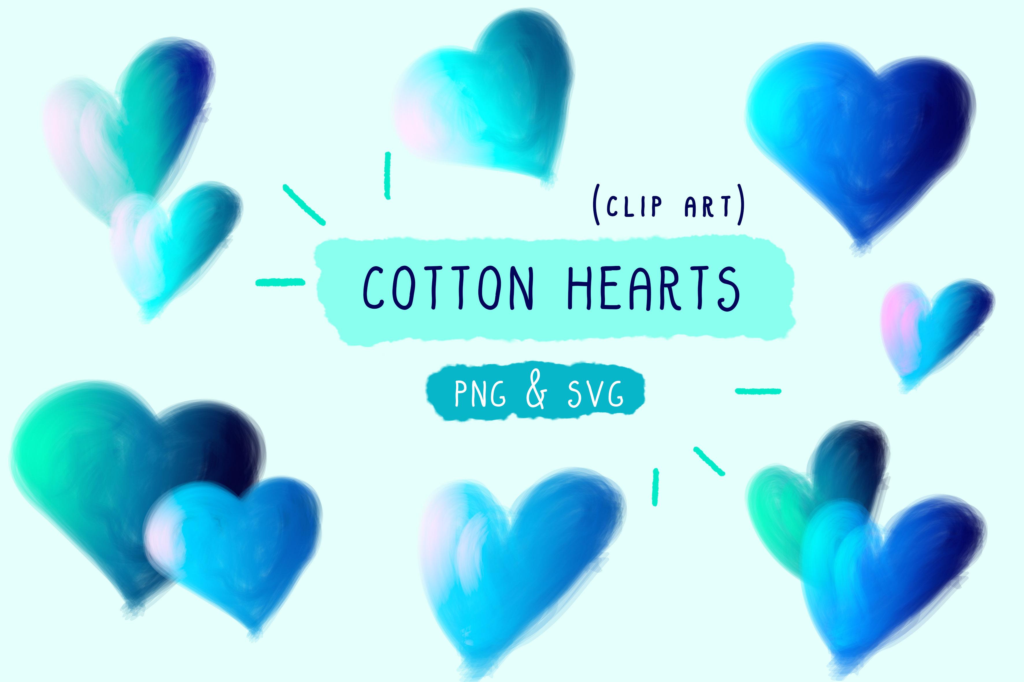 Cotton Candy, Hearts Clip Art, Handmade.