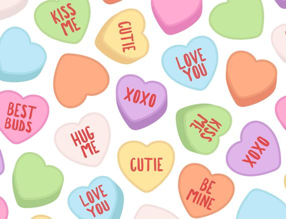 Candy Heart Clipart Coversation Valentine Etsy Classic Hearts Clip.
