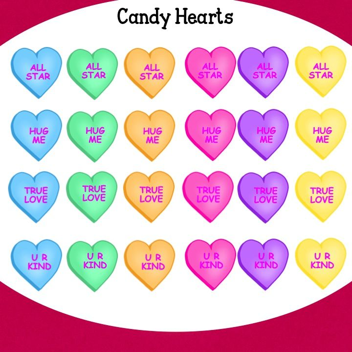 Valentine Candy Hearts Clip Art by Jeanette Baker.