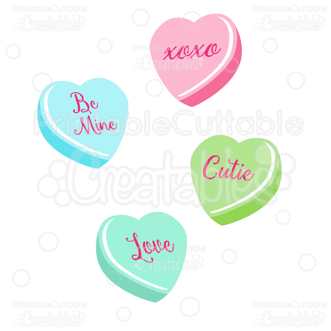 Valentine's Candy Hearts SVG Cut Files & Clipart.