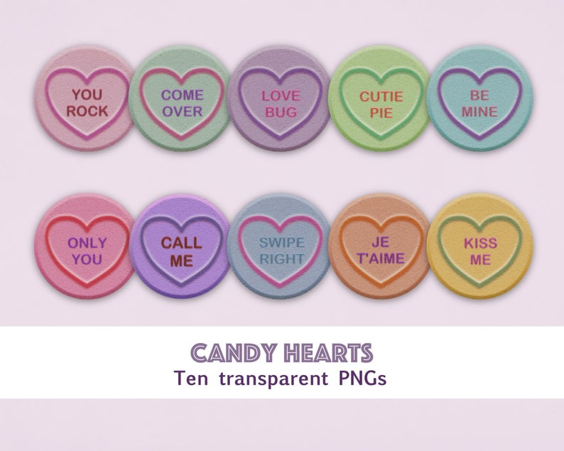 Candy hearts clipart, love hearts clipart, valentine clipart, hearts  clipart, sweet hearts clipart, Valentine's Day, instant download.