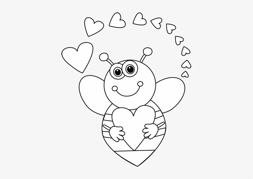 Black And White Cartoon Bee With Valentine's Day Hearts.