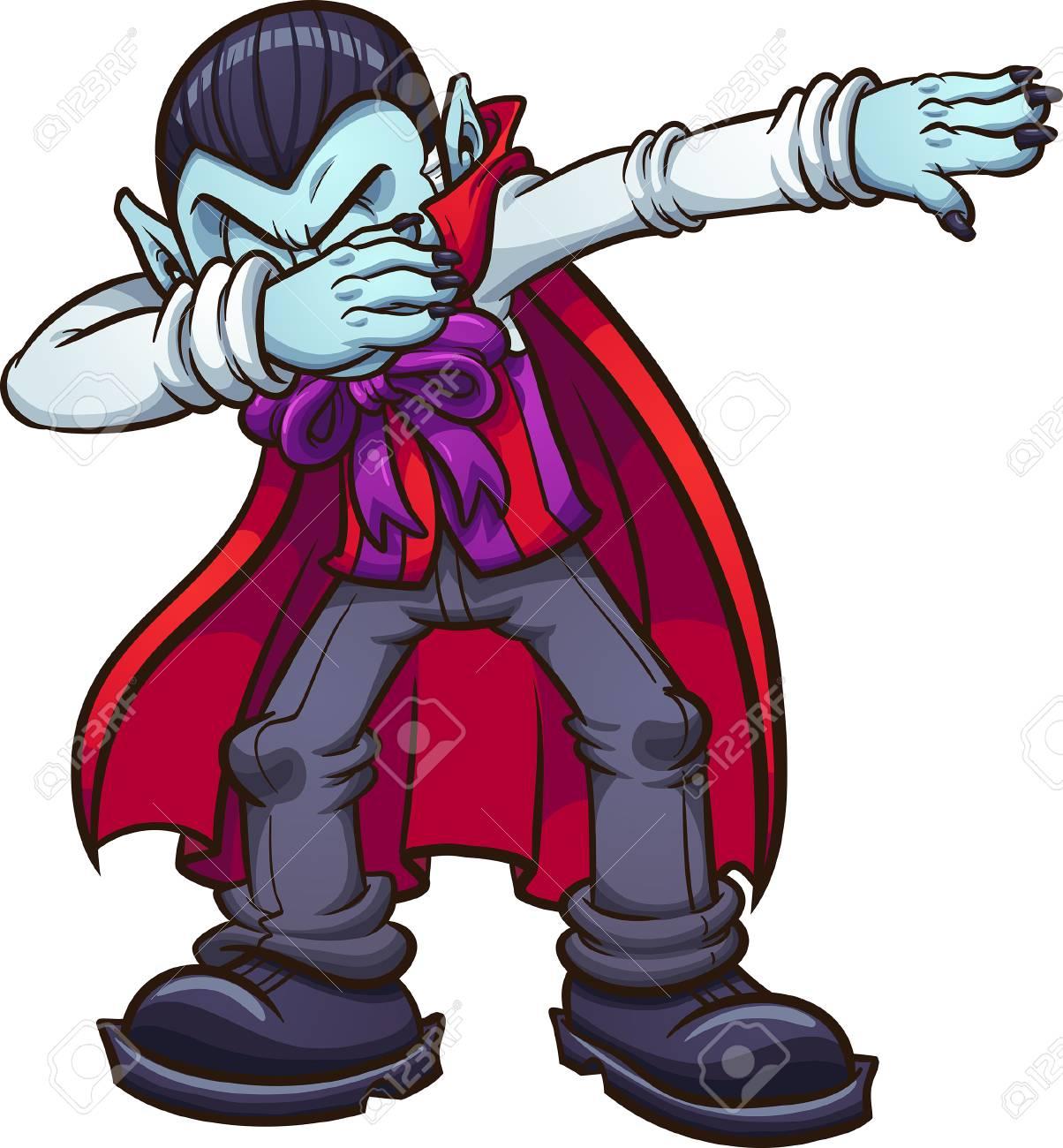 Dabbing cartoon vampire. Vector clip art illustration with simple...