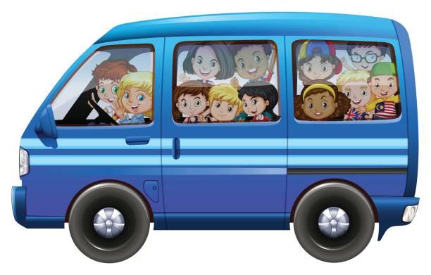 Best Mini Van Kids Illustrations, Royalty.