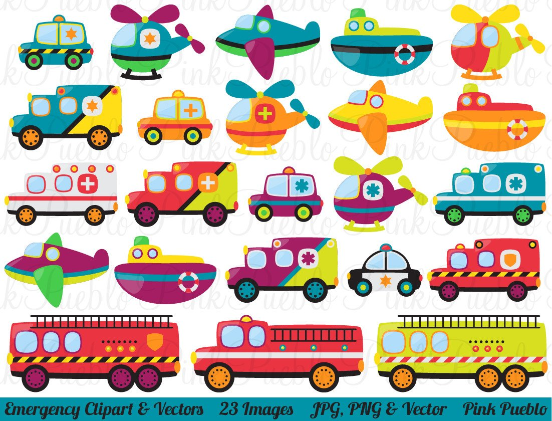 Emergency Vehicles Clipart and Vectors.