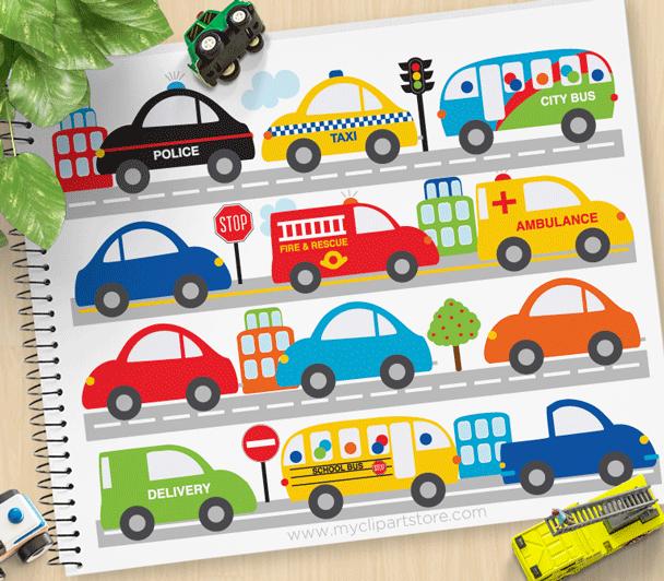City Vehicles Clipart.