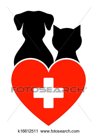 Veterinary sign with dog and cat Clip Art.