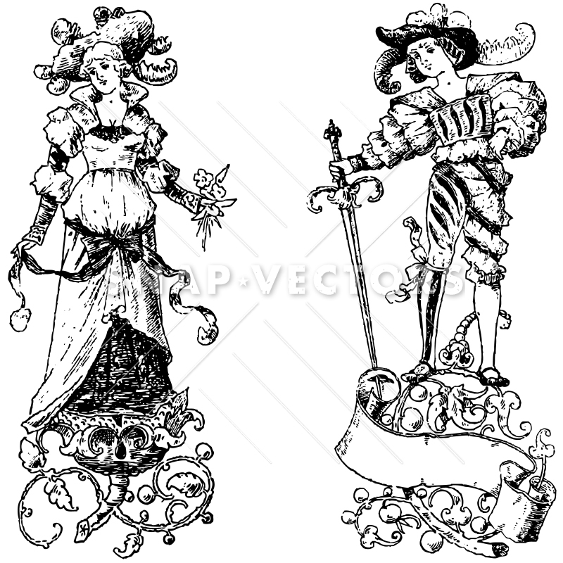 Vector Clipart Victorian Vintage Princess and Prince.