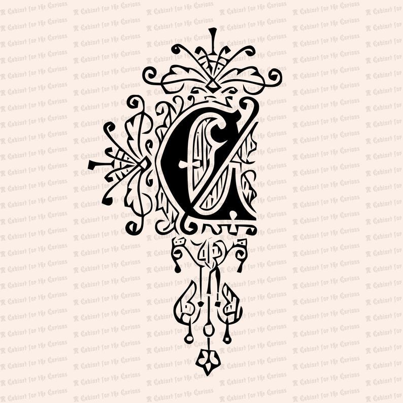 Ornamental Penwork Initial Letter C Vector Clipart.