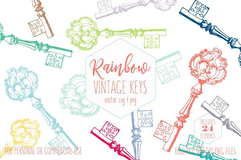 SKELETON KEY Clipart for Commercial Use Victorian Era Clip Art Antique  Vintage Shabby Chic Keys Rainbow Colors Vector Digital Graphics Svg.