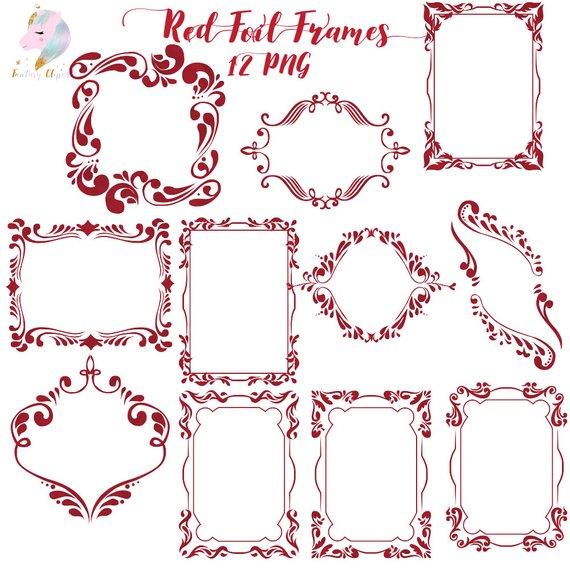 Frames clipart, red foil frame, gothic clip art, halloween graphics.