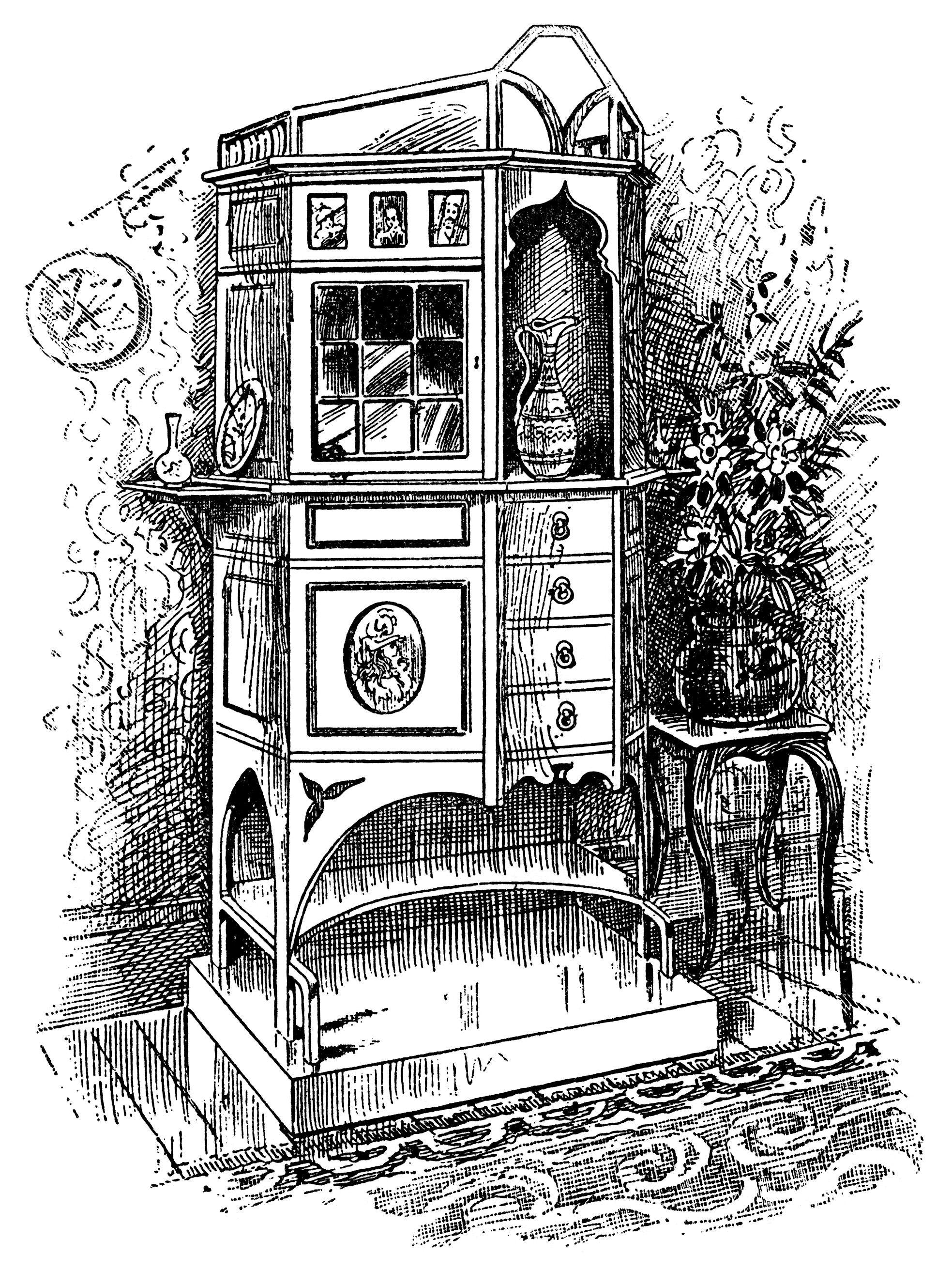 Victorian furniture illustration, black and white graphics, vintage.
