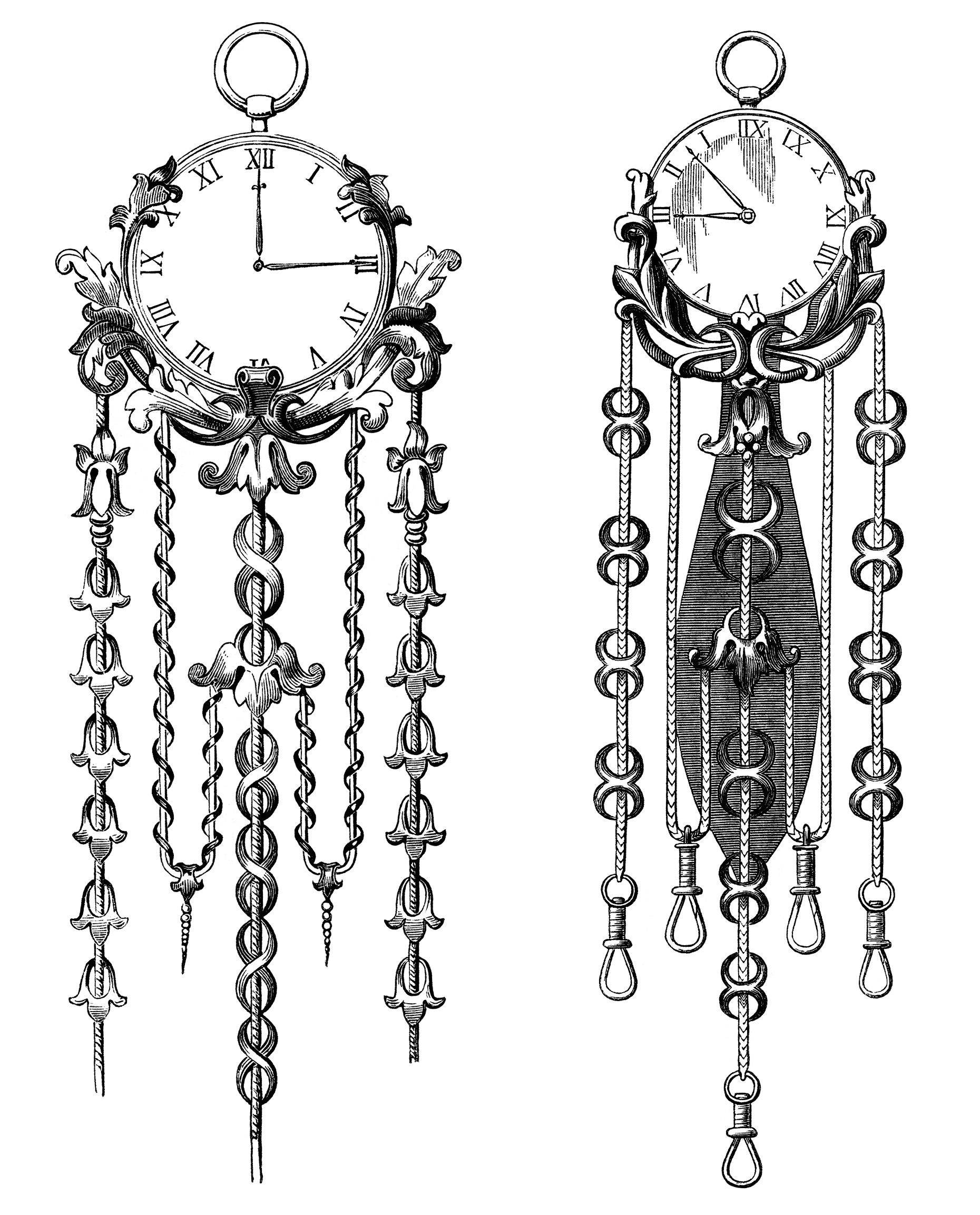 Victorian clock illustration, vintage clock clip art, black and.