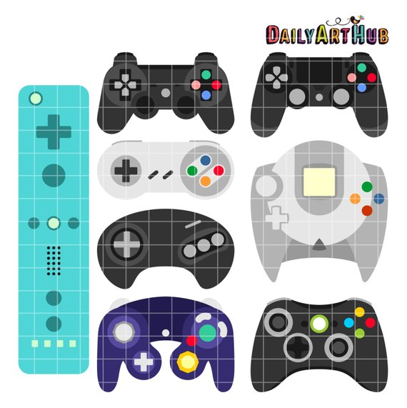 Game On Controllers Clip Art, Video Game Clipart, Gamer Printable.