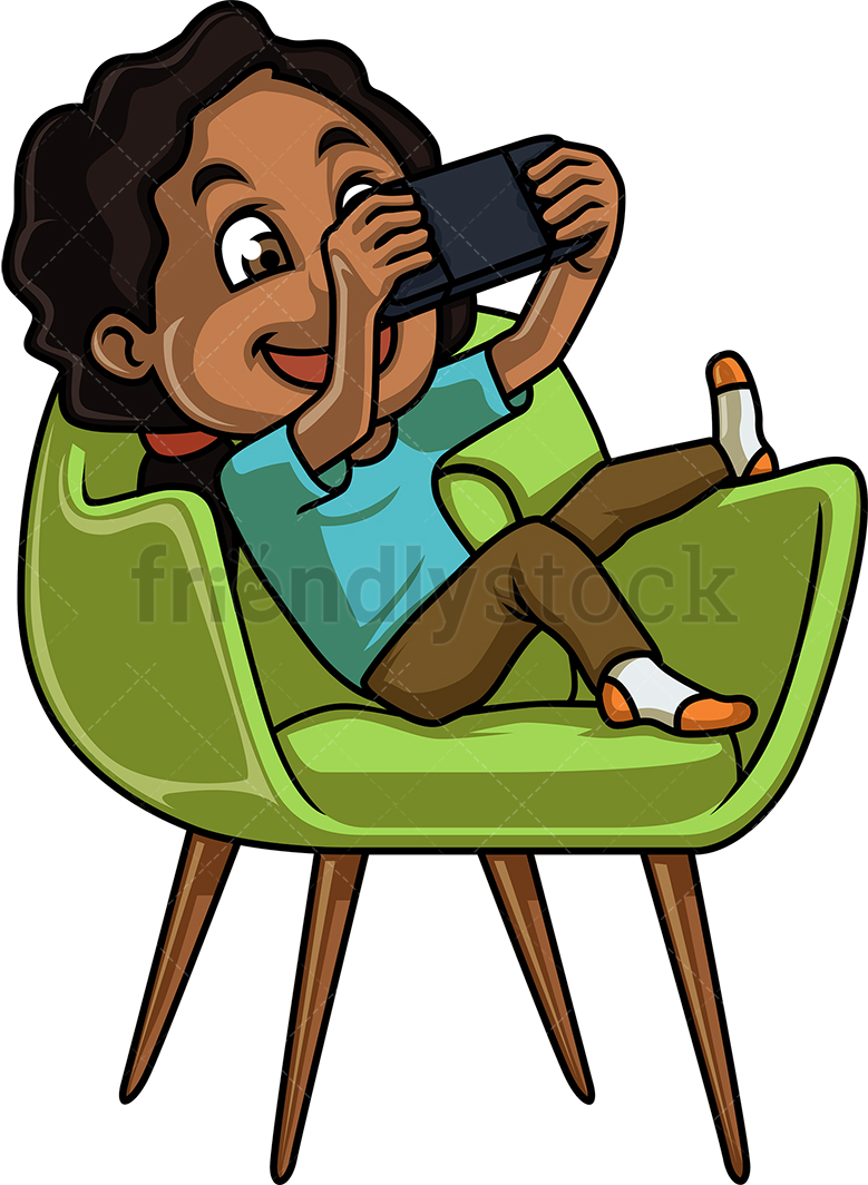 Black Girl Playing Video Game On Handheld Console.