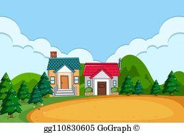 Village Scene Clip Art.