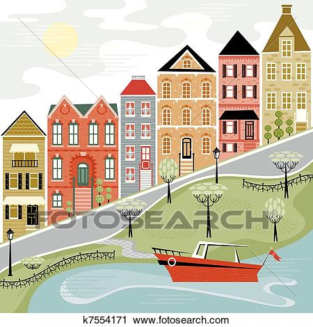 Quaint Village Street Clipart.