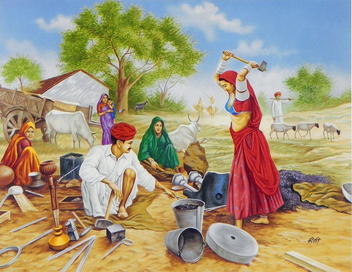 Image result for indian village scene clipart.