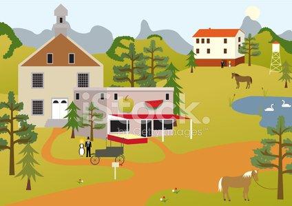 Village Scene premium clipart.