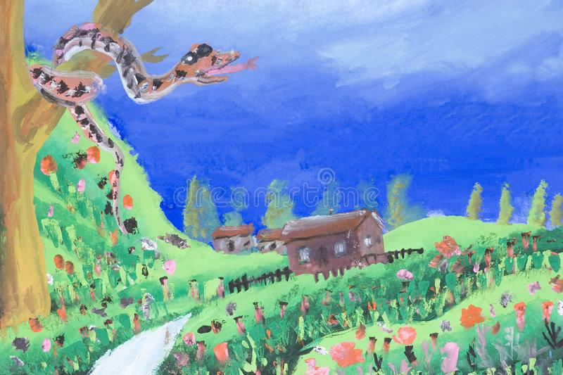 Children Art Village Scene Stock Illustrations.