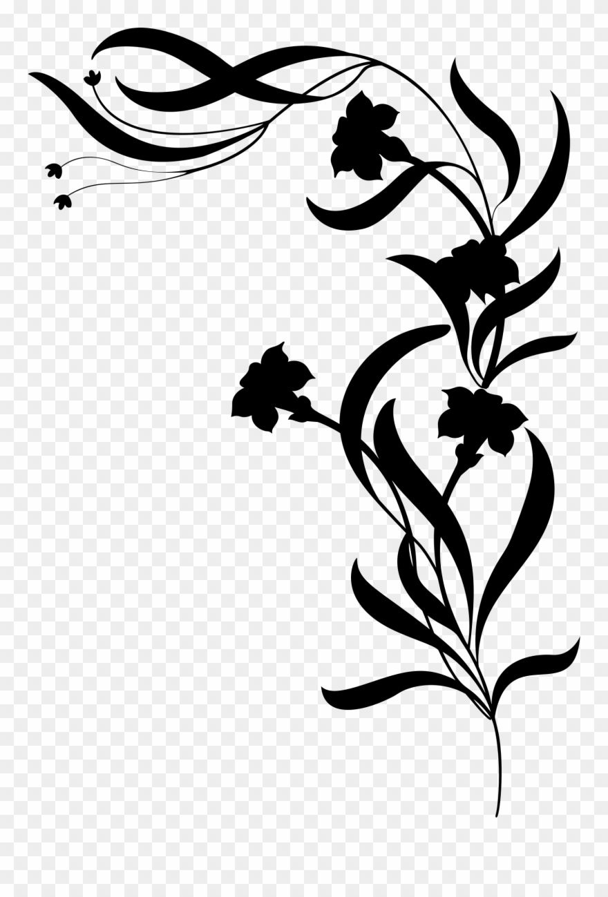 Flower Vine Silhouette Png Clipart (#1166486).