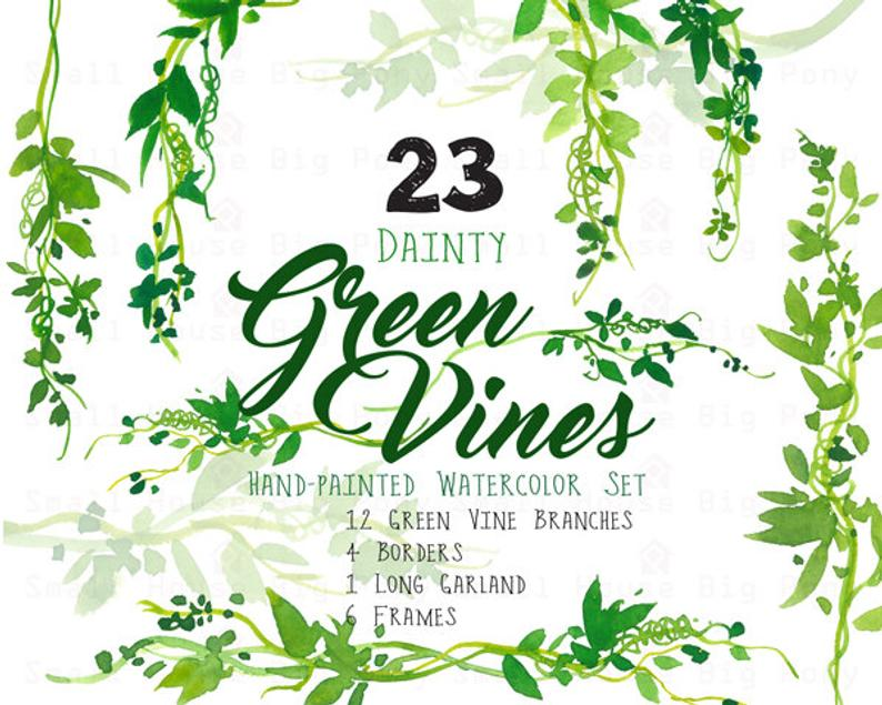 Digital Green Vines Clip Art. Green Laurel Wreath and Leaves Clipart. Vine  Frames and Borders for Wedding, Cards.