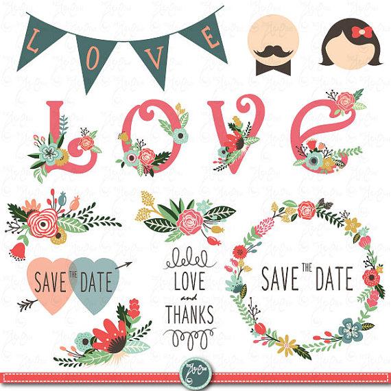 Wedding Clipart Design,Wedding Floral clipart,Vintage,Valentine's.