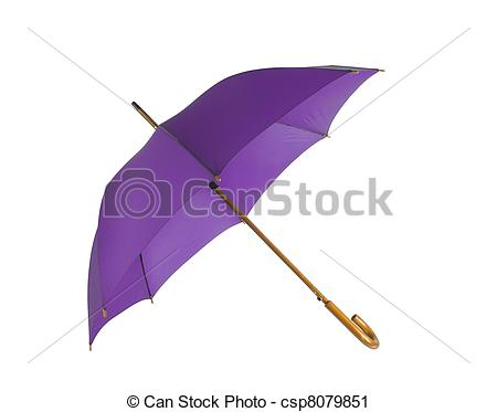 Clipart of Opened violet umbrella isolated on white background.