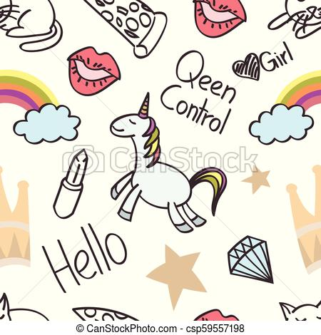 Seamless unicorn cartoon, wallpaper, doodle, art.