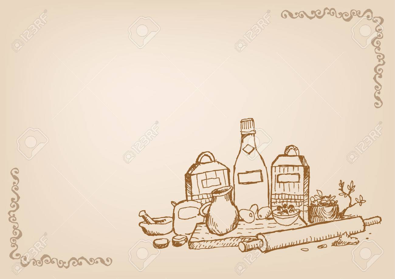 Baking and Cooking Wallpaper Line Art Style with Blank Space...